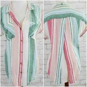 Thread & Supply Linen Blend Striped Blouse Medium